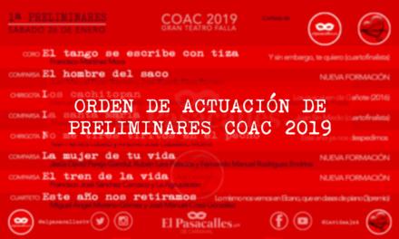 Aquí puedes ver todas las funciones de Preliminares del COAC 2019