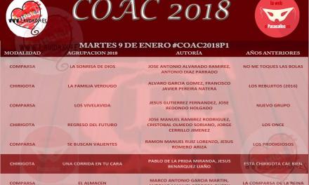 Orden de actuación Preliminares COAC 2018