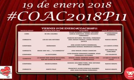 Décimo primera sesión de preliminares del COAC 2018 #COAC2018P11