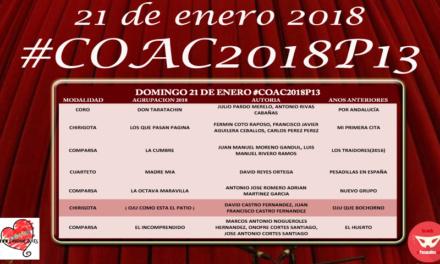 Decimotercera sesión de Preliminares del COAC 2018 #COAC2018P13