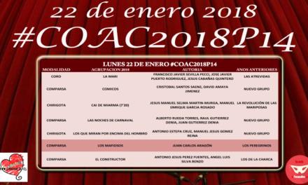 Decimocuarta sesión de Preliminares del COAC 2018 #COAC2018P14