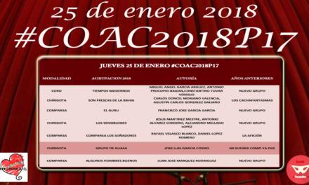 Decimoséptima sesión de Preliminares del COAC 2018 #COAC2018P17