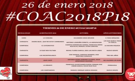 Decimooctava sesión de Preliminares del COAC 2018 #COAC2018P18