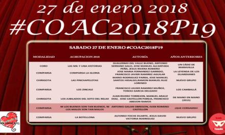 Decimonovena sesión de Preliminares del COAC 2018 #COAC2018P19