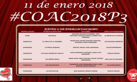 Tercera Sesión de Preliminares del COAC 2018 #COAC2018P3
