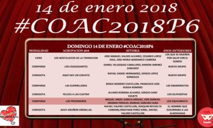 Sexta sesión de Preliminares del COAC2018 #COAC2018P6