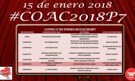 Séptima sesión de preliminares del COAC 2018 #COAC2018P7