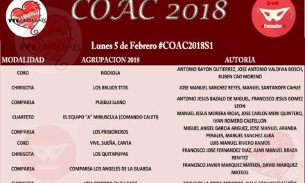 Orden de actuación de Semifinales #COAC2018