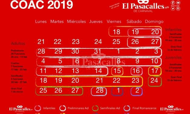 Así queda el Calendario del COAC 2019 tras la últimas modificaciones