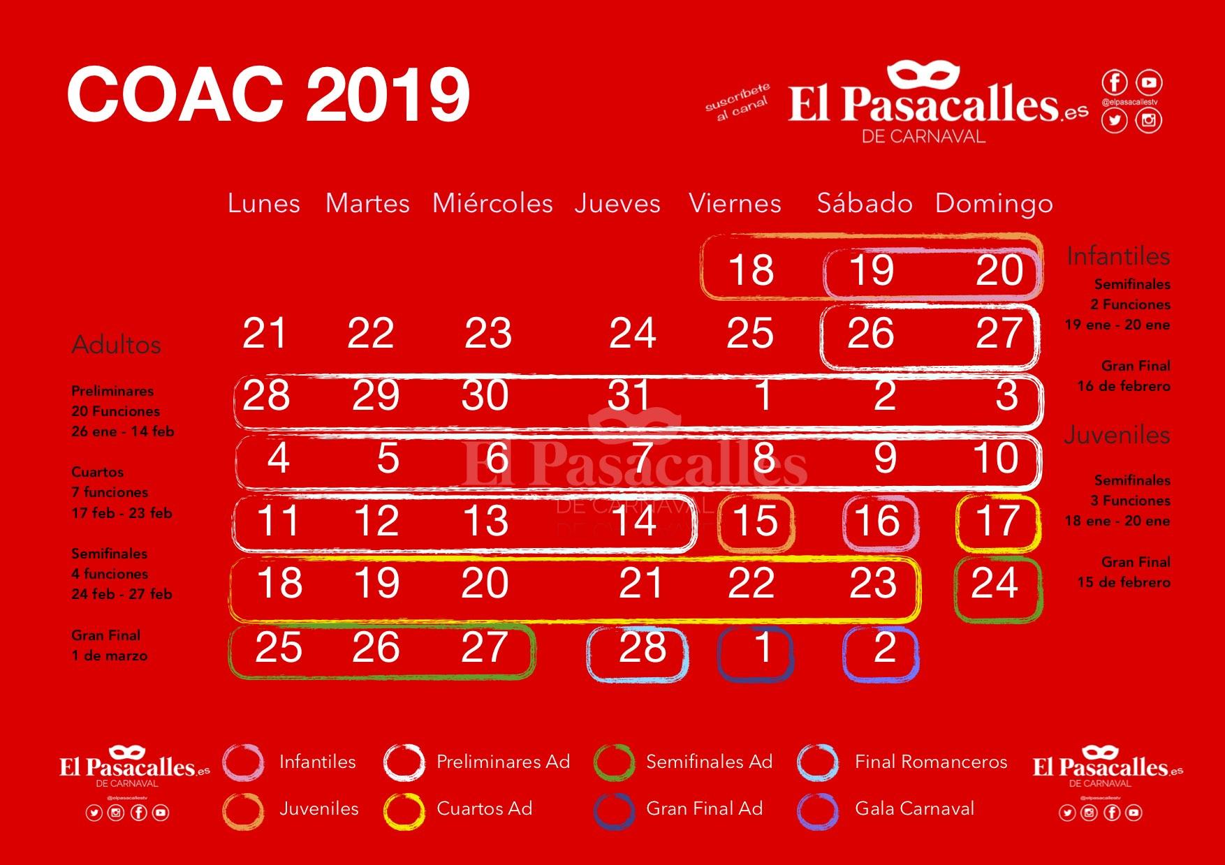 Calendario Fin De Semana 2019.Asi Queda El Calendario Del Coac 2019 Tras La Ultimas