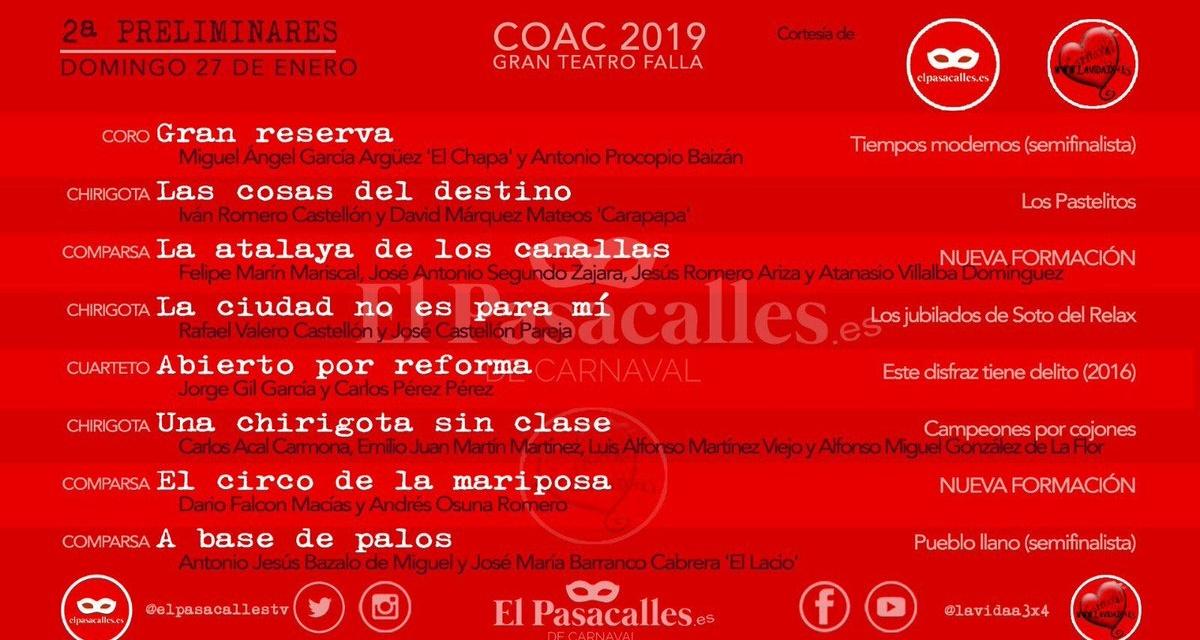 Segunda Sesión de Preliminares COAC 2019